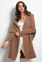 F1084 Oversized Longline Hooded Cardigan In Carmel