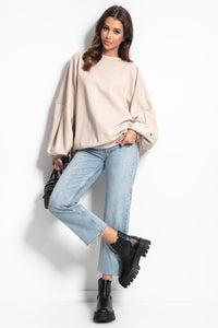 F1086 Sweatshirt With Wide Sleeve In Beige