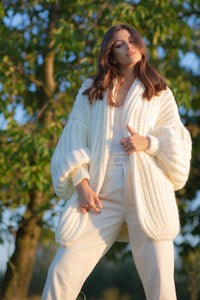 F1090 Chunky Knit Alpaca-Blend Pocket Cardigan In Ecru