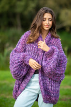 F1090 Chunky Knit Pocket Cardigan In Dark Purple
