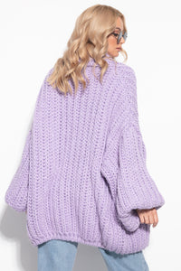 F1090 Alpaca-Blend Chunky Knit Pocket Cardigan In Purple