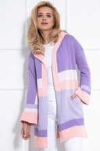F1040 Hooded Long Cardigan With Pockets In Lilac