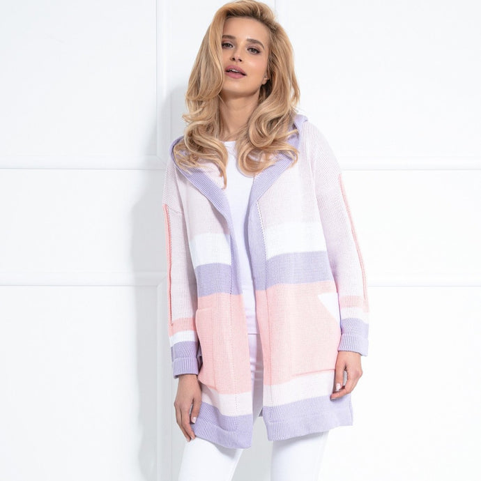 F1040 Hooded Long Cardigan With Pockets In Pink