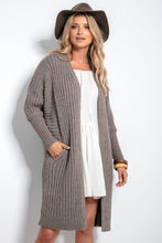 F1055 Oversized Longline Knit Cardigan With Pockets In Brown