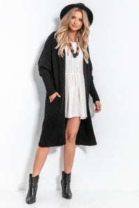 F1055 Oversized Longline Knit Cardigan With Pockets In Black