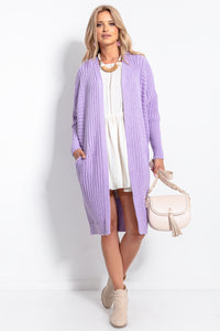 F1055 Oversized Longline Knit Cardigan With Pockets In Purple