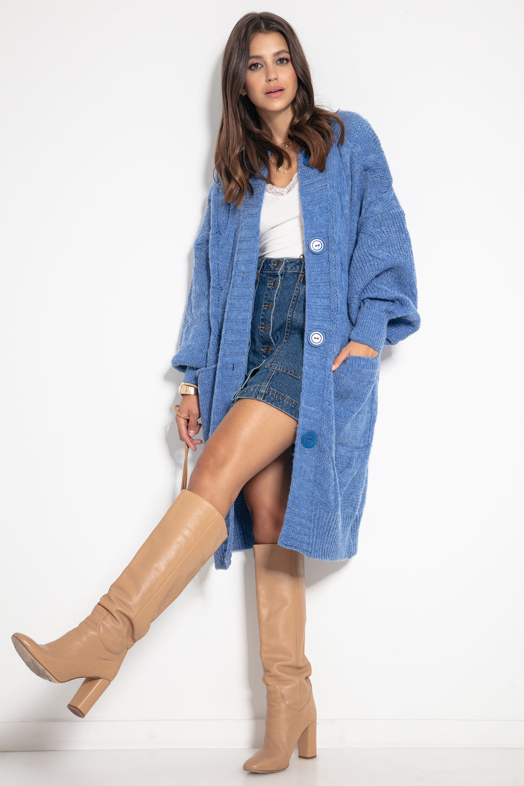 F1073 Front Pocket Longline Oversized Cable-Knit Cardigan In Blue