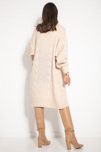 F1073 Front Pocket Longline Oversized Cable-Knit Cardigan In Beige