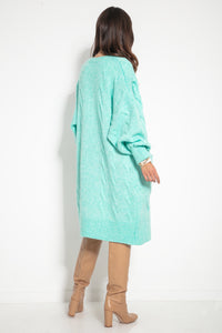 F1073 Front Pocket Longline Oversized Cable-Knit Cardigan In Green