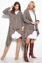 F1109 Oversized Cable-Knit Belted Cardigan In Brown
