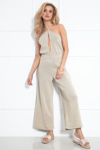 F1033 Backless Jumpsuit In Beige