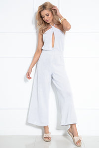 F1033 Backless Jumpsuit In White