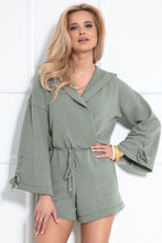 F1035 Hooded Playsuit In Olive