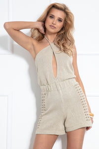 F1037 Backless Playsuit In Beige