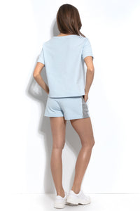 F941 Two Pieces Set Cotton Blouse & Shorts In Blue