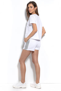 F941 Two Pieces Set Cotton Blouse & Shorts In White