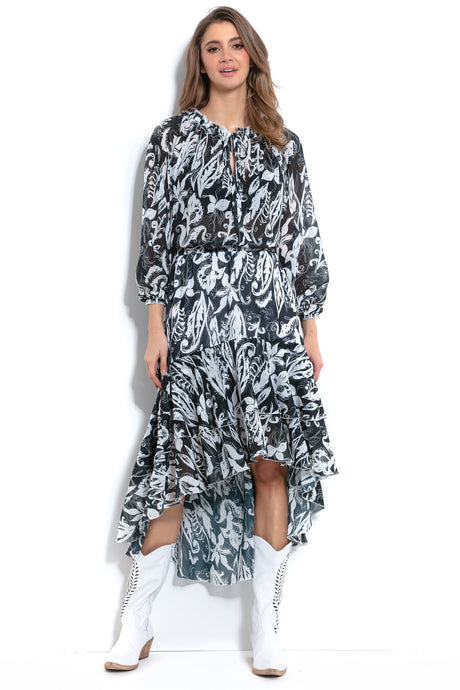 F1004 Floral Two Piece Set Midi Dress In Black