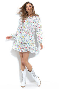 F1009 Tiered Skater Floral Mini Dress In White
