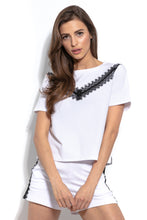 F943 Cotton Two Pieces Set Blouse & Shorts With Lace In White