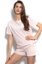 F943 Cotton Blouse & Shorts With Lace Set In Pink