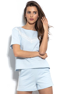 F943 Cotton Two Pieces Set Blouse & Shorts With Lace In Blue