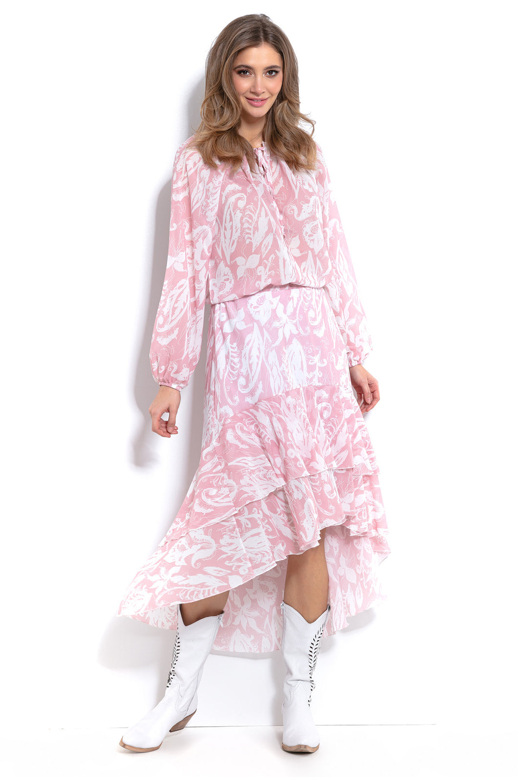 F1005 Floral Two Piece Maxi Dress In Pink