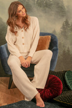 F1144 Rib-Knit Cardigan & Pants Lounge Set In Ecru