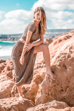 F731 Two Piece Beach Maxi Dress In Brown