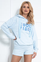 F1043 Hooded Sweatshirt & Shorts Set In Blue