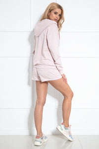 F1043 Two Pieces Set Hooded Sweatshirt & Shorts In Pink