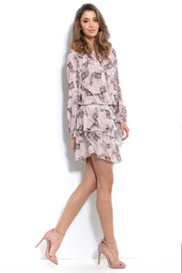 F994 Floral Two Piece Mini Dress In Beige