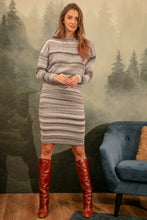 F1154 Wool-Blend Stripe Jumper & Dress Set In Grey