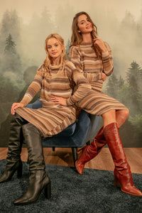 F1154 Wool-Blend Stripe Jumper & Dress Set In Beige