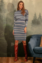 F1154 Wool-Blend Stripe Jumper & Dress Set In Blue