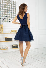 2217-01 Fit & Flare Tulle Belted Mini Dress In Navy