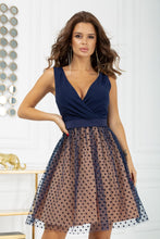 2217-22 Fit & Flare Tulle Belted Mini Dress In Navy-Beige