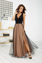 2218-16 Tulle Slit Belted Maxi Dress In Black-Beige
