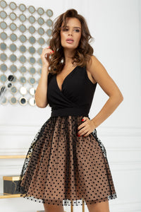 2217-03 Fit & Flare Tulle Belted Mini Dress In Black-Beige