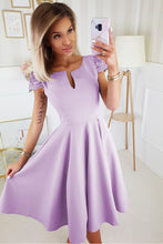 2212-50 Cap Lace Sleeve Fit & Flare Midi Dress with Pockets In Purple