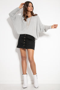 F1066 Oversized Batwing-style Wide Fluffy Knit Jumper In Grey