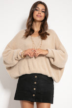 F1066 Oversized Batwing-style Wide Fluffy Knit Sweater In Beige
