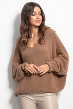 F1066 Oversized Batwing-style Wide Fluffy Knit Jumper In Carmel