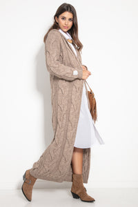 F1080 Hooded Alpaca-Blend Oversized Cable Knit Maxi Cardigan In Brown