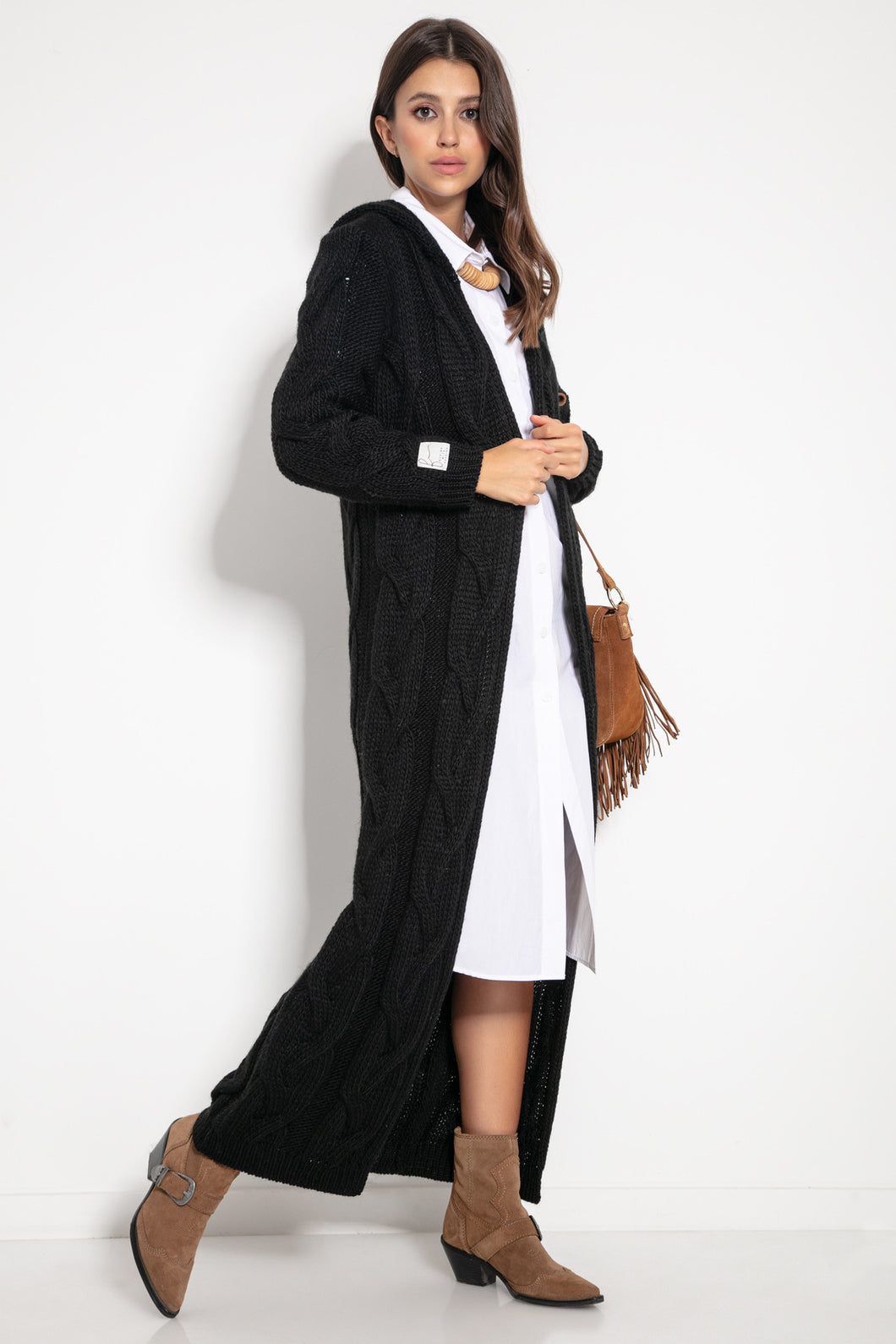 F1080 Hooded Alpaca-Blend Oversized Maxi Cardigan In Black