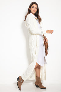 F1080 Hooded Alpaca Oversized Maxi Cardigan In Ecru