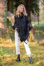 F601 Roll Neck Sweater-Style Poncho In Black