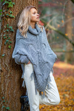 F601 Roll Neck Sweater-Style Poncho In Grey