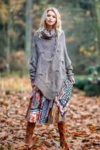 F601 Roll Neck Sweater-Style Poncho In Brown