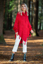 F601 Roll Neck Sleeve Poncho In Red