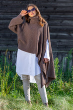 F1098 Oversized Asymmetric Turtleneck Sweater-Style Poncho In Brown